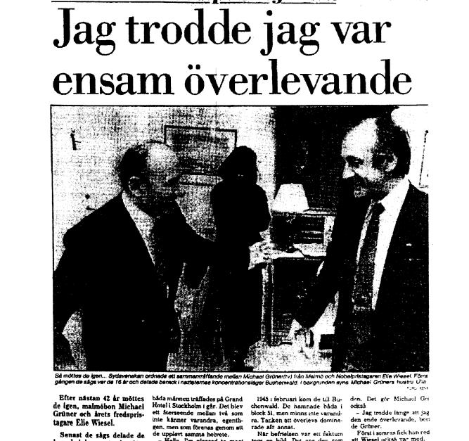 elie wiesel the documents little grey rabbit s historical  elie and miklos meet in stockholm